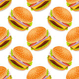 Seamless background with cartoon style hamburgers. On a yellow bacground royalty free illustration