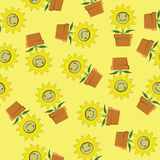 Seamless background of cartoon sunflower Stock Photography