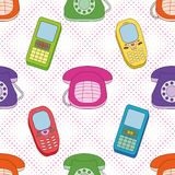 Seamless background, cartoon telephones Royalty Free Stock Image
