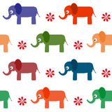 Seamless background of cartoon vector elephants. Stock Photo