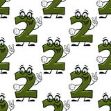 Seamless background with cartooned number 2. Seamless pattern with cheerful green cartoon number 2 showing two fingers suitable for mathematics lessons for vector illustration