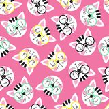 Seamless background with cat in glasses. Seamless pattern with cute cat head in glasses on a pink background. Seamless background for children. Vector Royalty Free Stock Images