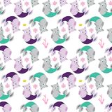 Seamless background with cat mermaids. Funny kittens with fish t Stock Photos