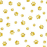 Seamless background with cat paw print. Royalty Free Stock Photo