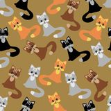 Seamless background with cats Stock Photos