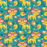 Seamless background with cats and birds Royalty Free Stock Image