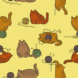 Seamless background with cats Stock Photo