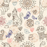Seamless background with cats and flowers Stock Photos
