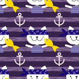 Seamless  background with cats sailors. Cat with fish. Royalty Free Stock Images