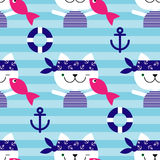 Seamless  background with cats sailors. Cat with fish. Royalty Free Stock Photography