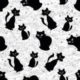 Seamless background with cats silhouettes Stock Image