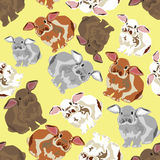 Seamless background with rabbits Royalty Free Stock Images