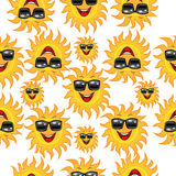 Seamless background with a cheerful sun glasses Stock Photos