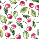 Seamless background of cherry and leaves. Watercolor tileable pattern of cherry fruit and leaves Stock Images