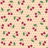 Seamless background cherry polka dot Stock Photos