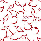 vector seamless background with cherry silhouettes Stock Photos