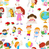 Seamless background with children reading and writing Stock Images