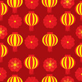 Seamless background of Chinese New Year Illustration with red flower and lampion lamp on red background Royalty Free Stock Image