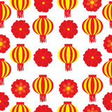 Seamless background of Chinese New Year Illustration with red flower and lampion lamp Royalty Free Stock Photo