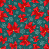 Seamless background of Christmas bows and snowflakes. Pattern Stock Images