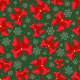 Seamless background of Christmas bows and snowflakes. Pattern Stock Photo