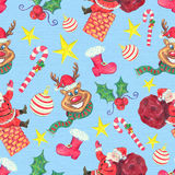 Seamless background with Christmas characters and symbols Royalty Free Stock Photos
