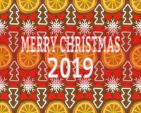 Seamless background with Christmas decorations from dried oranges, gingerbread and cookies. stock illustration