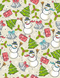 Seamless background with christmas elements,  vector Stock Photography