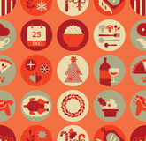 Seamless Background with Christmas food. Silhouettes royalty free illustration