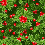 Seamless background with Christmas holly. Royalty Free Stock Images
