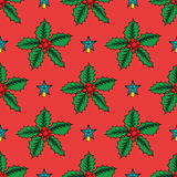 Seamless background with Christmas holly. Vector illustration. Stock Photography