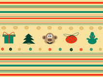 Seamless background with christmas icons. Christmas seamless pattern with monkey, snowman, gifts and others elements. Pattern can be used for wallpaper, pattern Royalty Free Stock Photos