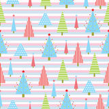 Seamless background of Christmas illustration with colorful Xmas tree on stripes background suitable for Xmas wallpaper, scrap Royalty Free Stock Images