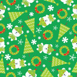 Seamless background of Christmas illustration with cute baby bears, Xmas tree and snowflakes on green background Stock Photos