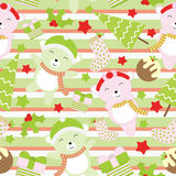 Seamless background of Christmas illustration with cute baby bears and Xmas tree on stripe background suitable for wallpaper, scra Stock Photos