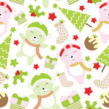 Seamless background of Christmas illustration with cute baby bears and Xmas tree suitable for wallpaper, scrap paper and postcard Stock Photography