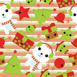Seamless background of Christmas illustration with cute bear, bell, gift, star, and Xmas tree on stripes background suitable for C Stock Photography