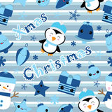 Seamless background of Christmas illustration with cute penguin, bell, gift, and star on stripes background suitable for Children Stock Photo