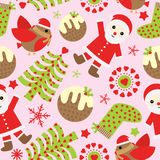Seamless background of Christmas illustration with cute Santa Claus, bird, and Xmas ornaments on pink background suitable for Xmas Stock Photo