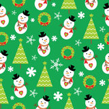 Seamless background of Christmas illustration with cute snowman and Xmas tree on green background suitable for wallpaper Royalty Free Stock Image