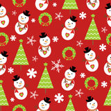 Seamless background of Christmas illustration with cute snowman and Xmas tree on red background suitable for wallpaper and scrap Royalty Free Stock Images