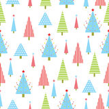 Seamless background of Christmas illustration with green, red, and blue Xmas tree suitable for Xmas wallpaper, scrap paper, an Royalty Free Stock Image