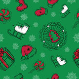 Seamless background with Christmas objects Royalty Free Stock Photography