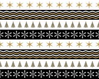 Christmas patterns in gold, black and white. Seamless background of christmas patterns in gold, black and white royalty free illustration