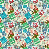 Seamless background of Christmas postal stamps Stock Photos