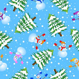 Seamless background with Christmas tree and snowman Stock Images