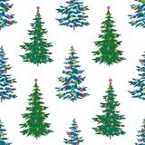 Seamless background, Christmas trees Stock Photo