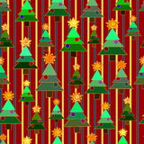 Seamless background Christmas trees on the background with strip Royalty Free Stock Image