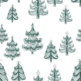 Seamless background of christmas trees sketches. Vector pattern of the drawn christmas trees vector illustration