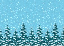Seamless background, Christmas trees with snow Stock Photos